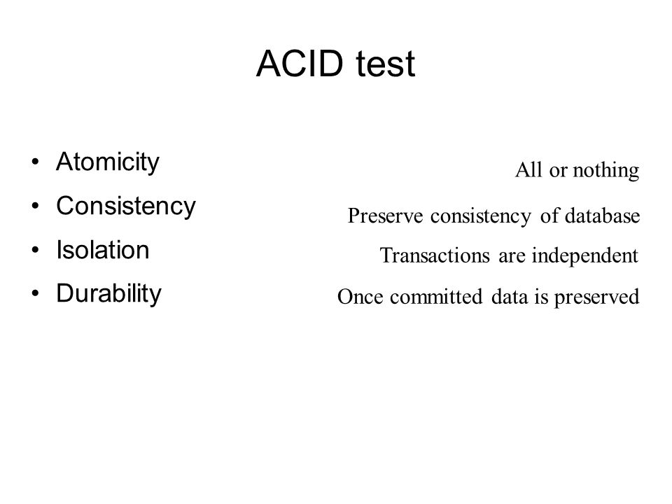 ACID test Atomicity Consistency Isolation Durability All or nothing