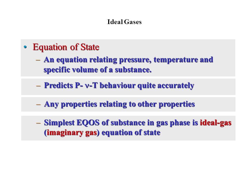 Ideal Gases Equation of State. An equation relating pressure, temperature and specific volume of a substance.