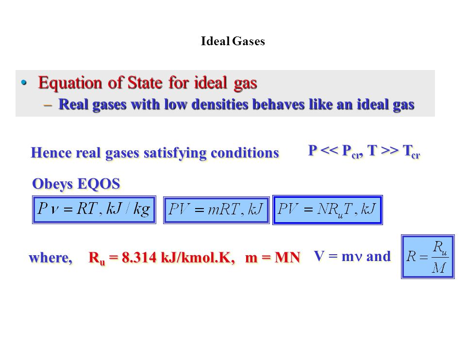 Hence real gases satisfying conditions P << Pcr, T >> Tcr