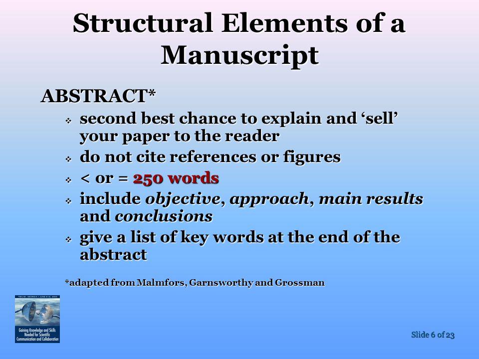 Structural Elements of a Manuscript