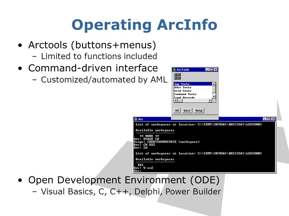 Operating ArcInfo Arctools (buttons+menus) Command-driven interface