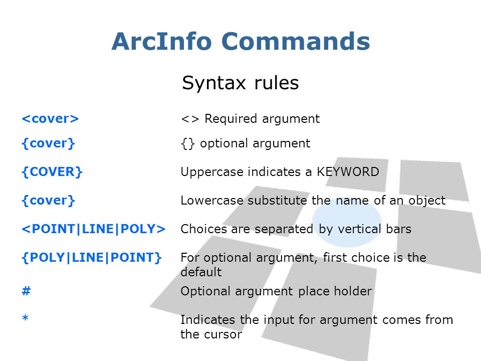 ArcInfo Commands Syntax rules <cover> <> Required argument