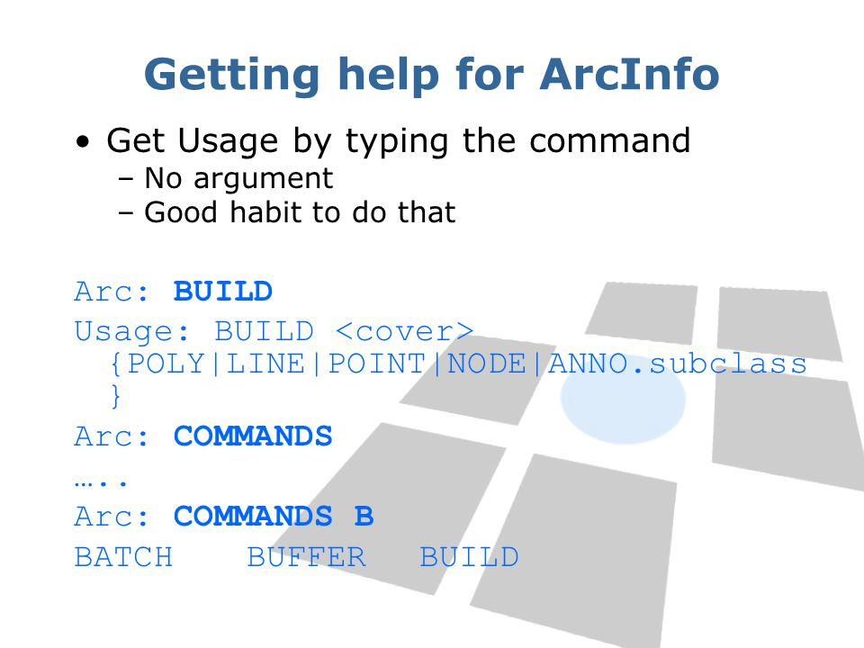 Getting help for ArcInfo