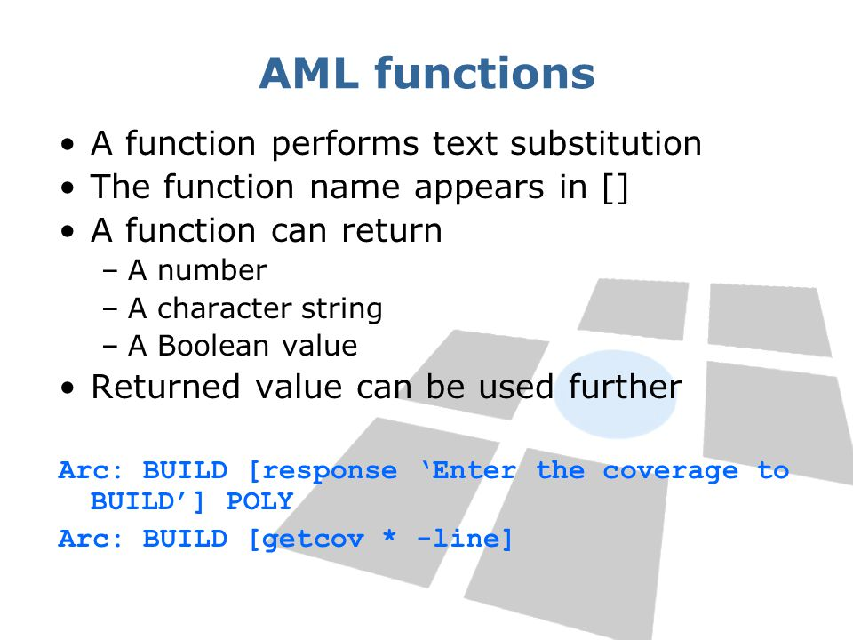 AML functions A function performs text substitution