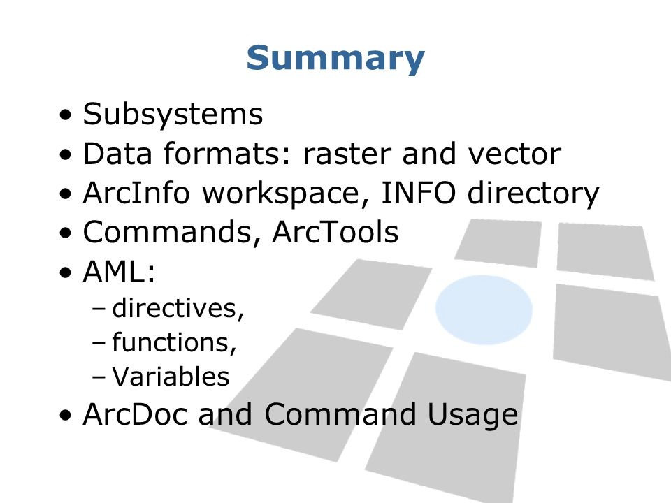 Summary Subsystems Data formats: raster and vector