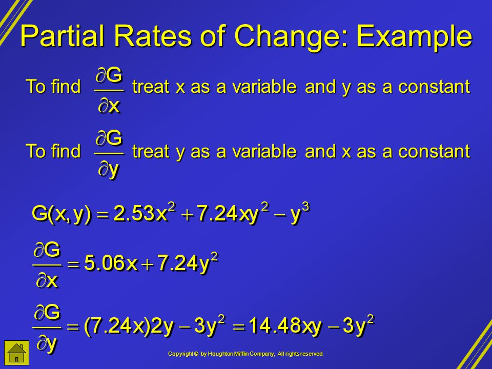 Partial Rates of Change: Example