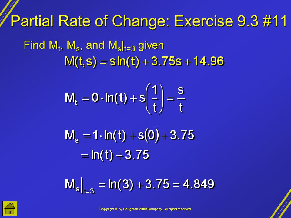 Partial Rate of Change: Exercise 9.3 #11