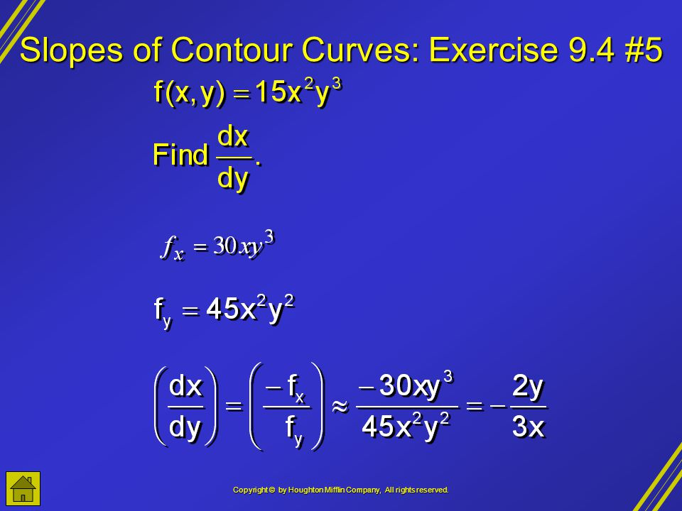Slopes of Contour Curves: Exercise 9.4 #5
