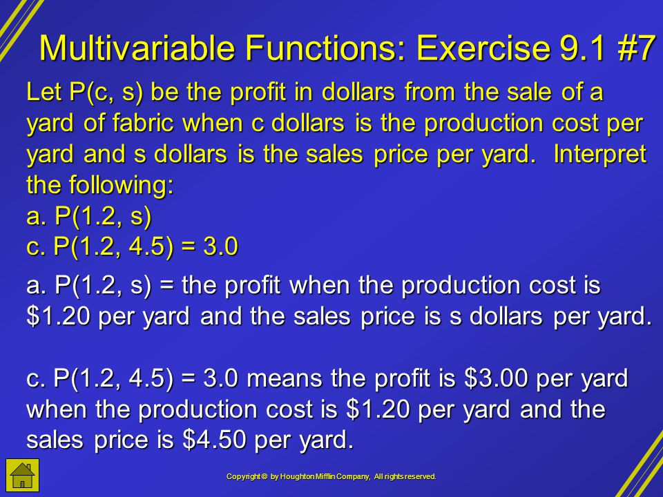 Multivariable Functions: Exercise 9.1 #7