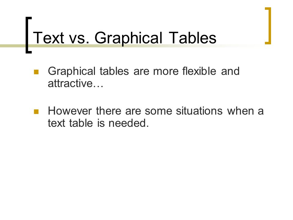 Text vs. Graphical Tables