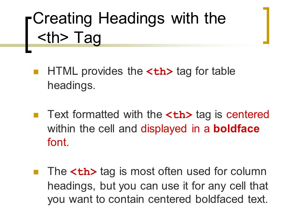 Creating Headings with the <th> Tag