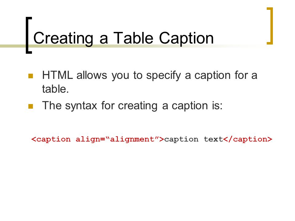 Creating a Table Caption