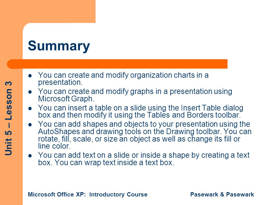 Summary You can create and modify organization charts in a presentation. You can create and modify graphs in a presentation using Microsoft Graph.