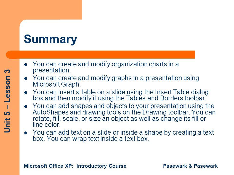 Summary You can create and modify organization charts in a presentation. You can create and modify graphs in a presentation using Microsoft Graph.