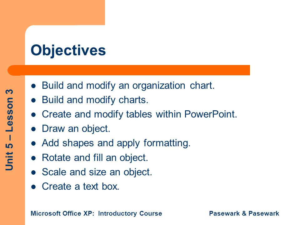 Objectives Build and modify an organization chart.