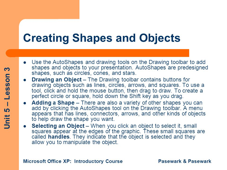 Creating Shapes and Objects