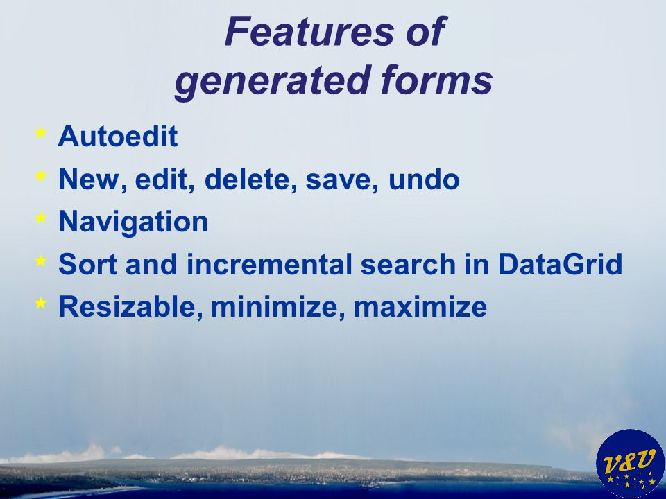 Features of generated forms