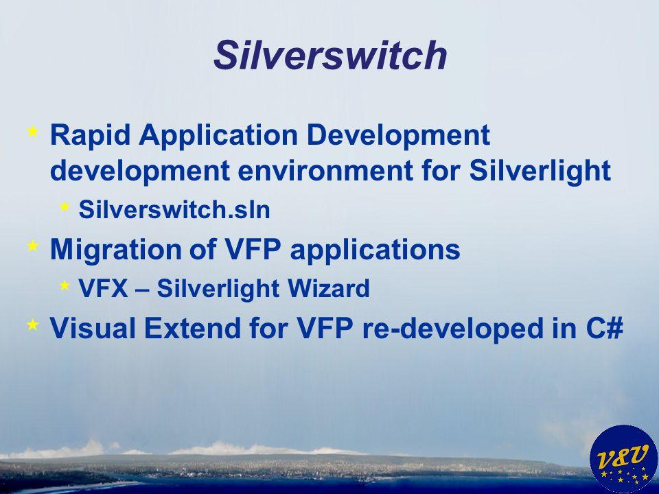 Silverswitch Rapid Application Development development environment for Silverlight. Silverswitch.sln.