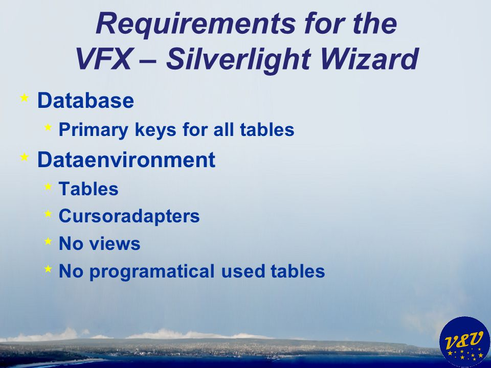 Requirements for the VFX – Silverlight Wizard