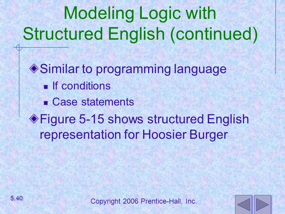 Modeling Logic with Structured English (continued)
