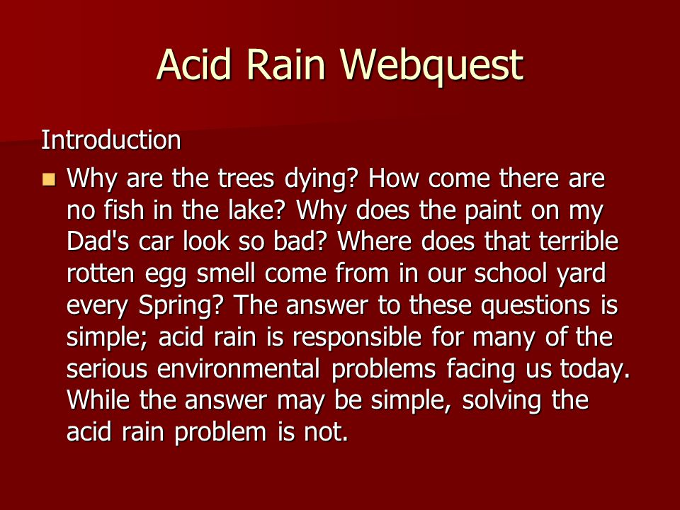 Acid Rain Webquest Introduction