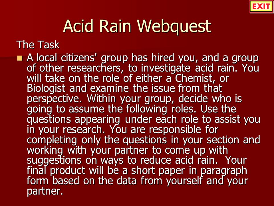 Acid Rain Webquest The Task