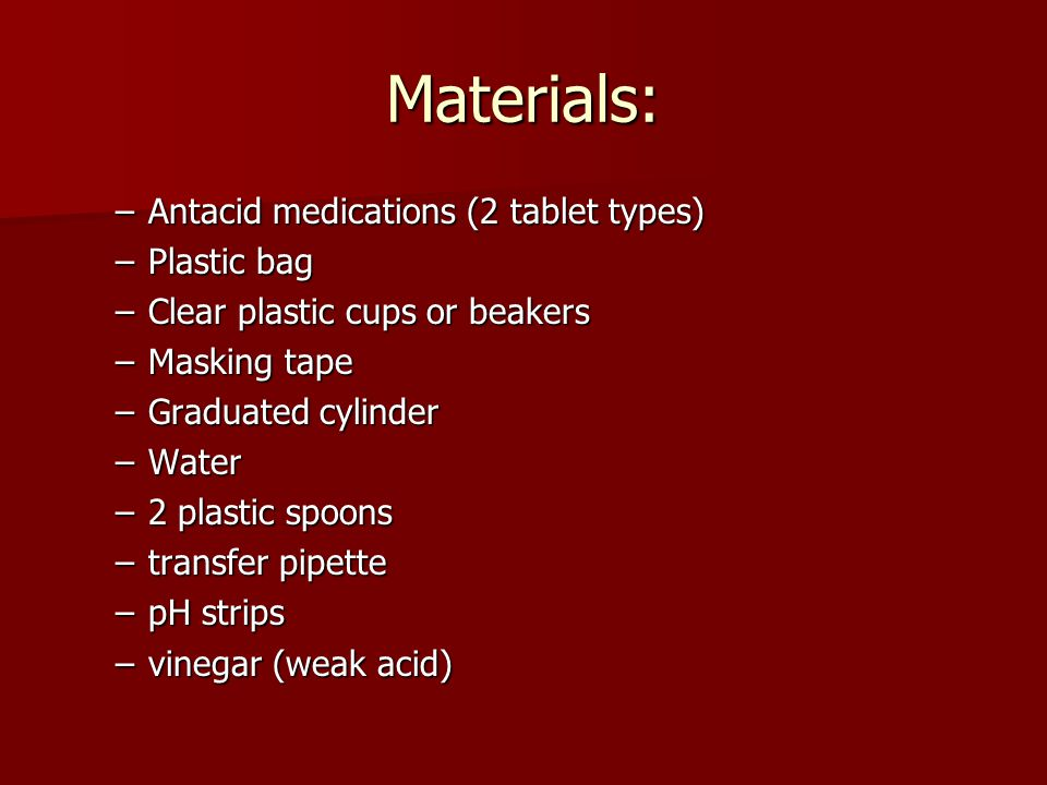 Materials: Antacid medications (2 tablet types) Plastic bag