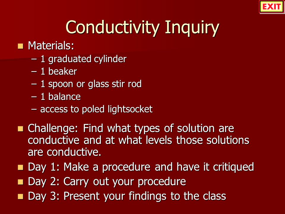 Conductivity Inquiry Materials: