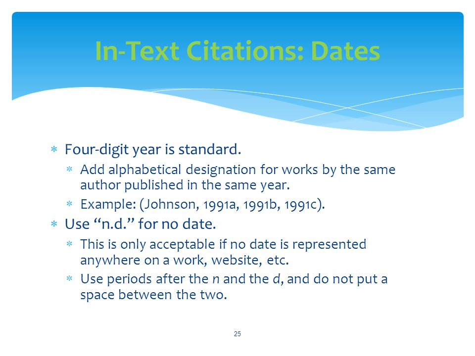 In-Text Citations: Dates