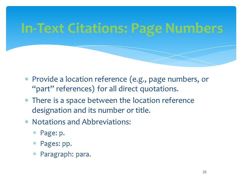 In-Text Citations: Page Numbers