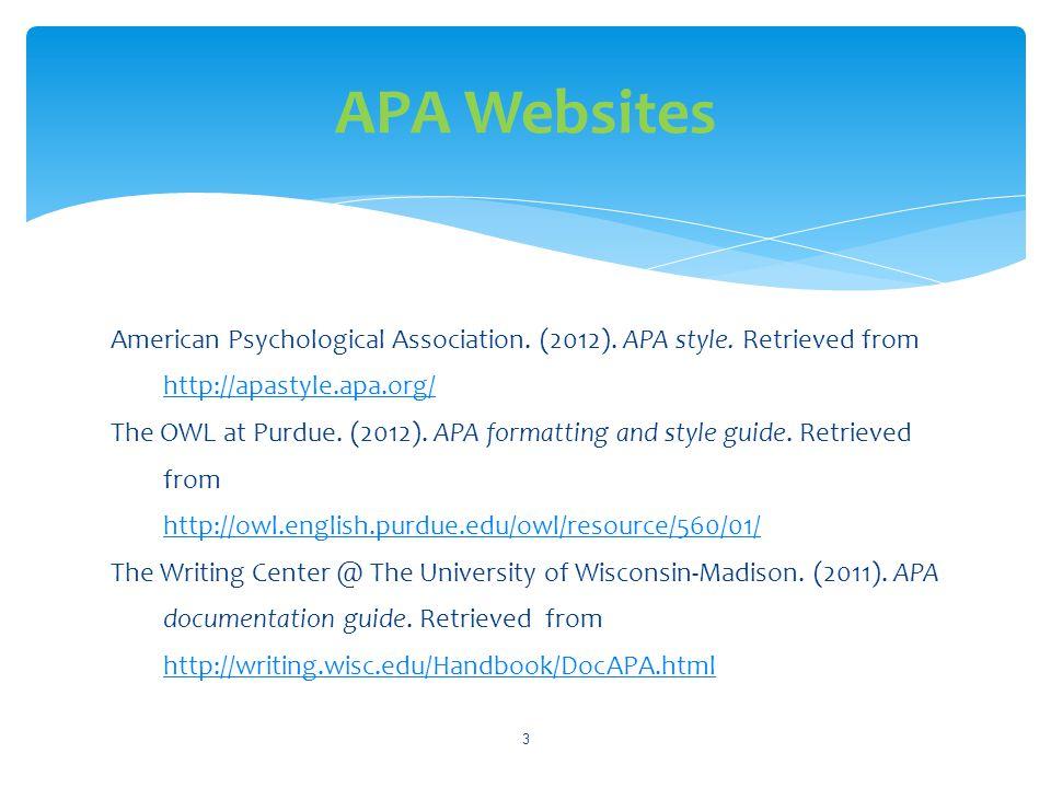 APA Websites