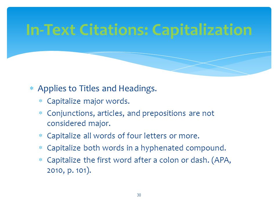 In-Text Citations: Capitalization