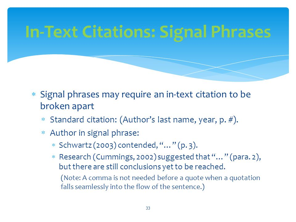 In-Text Citations: Signal Phrases