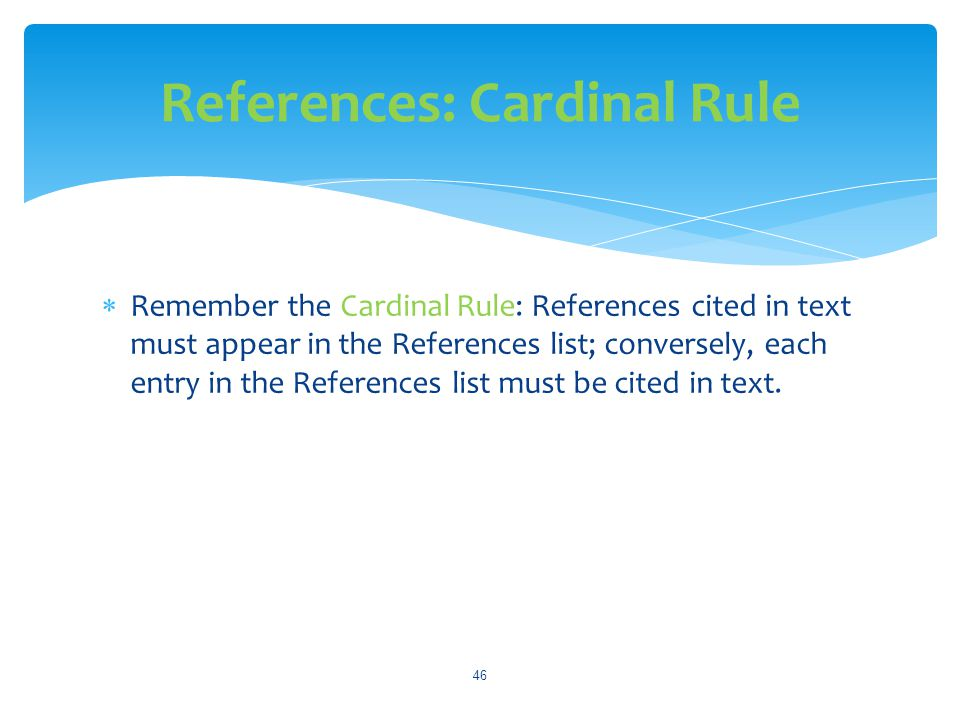 References: Cardinal Rule