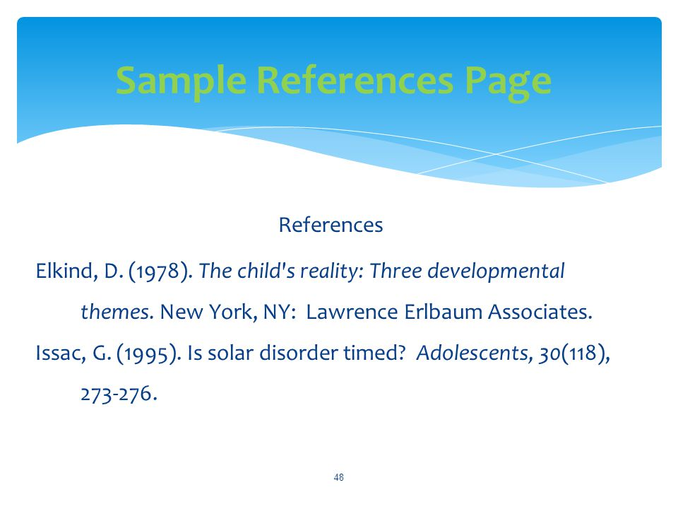 Sample References Page