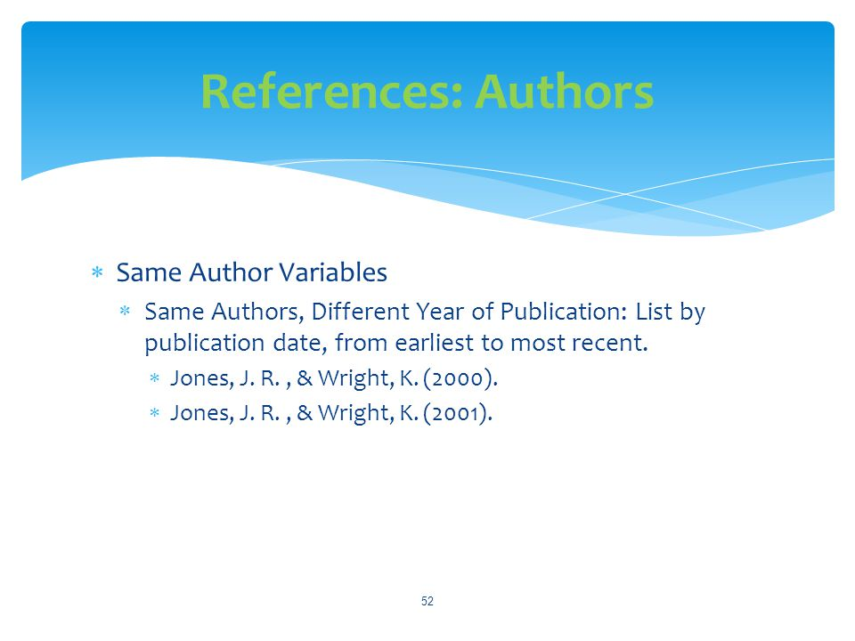 References: Authors Same Author Variables