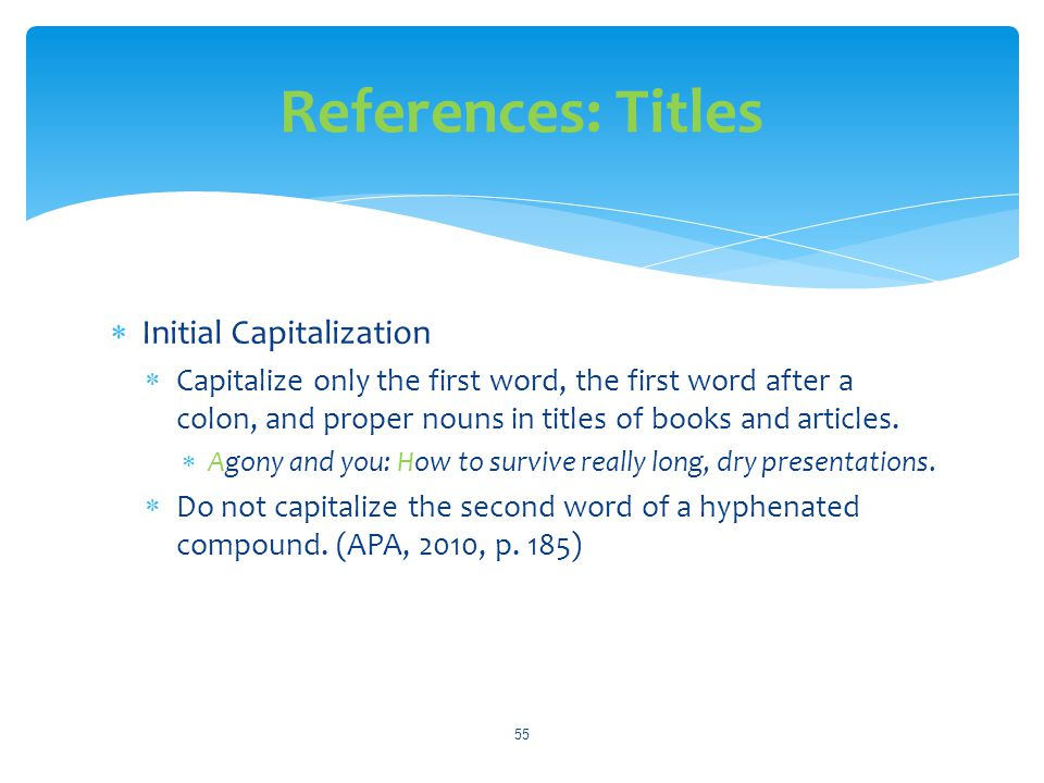References: Titles Initial Capitalization