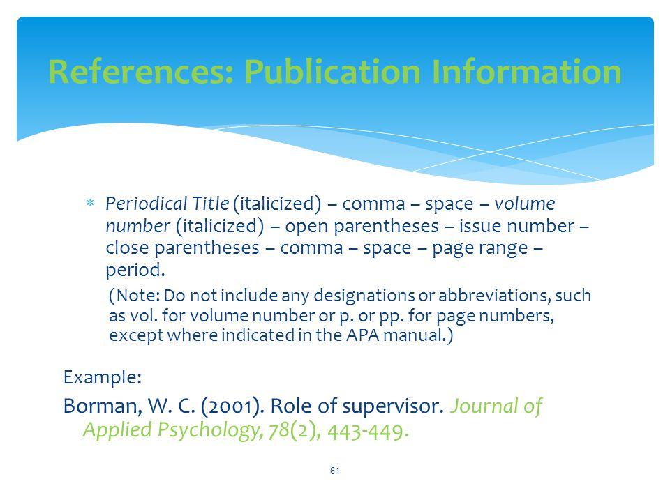 References: Publication Information