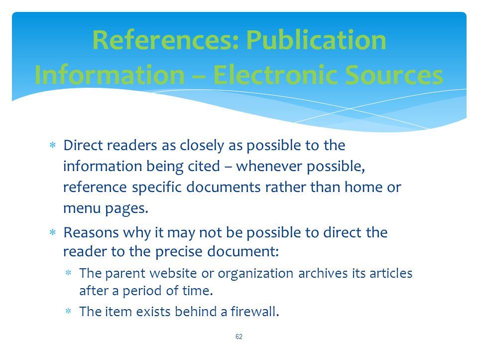 References: Publication Information – Electronic Sources
