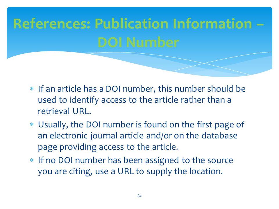 References: Publication Information – DOI Number