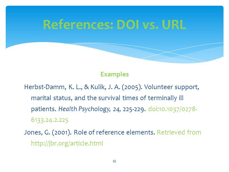 References: DOI vs. URL
