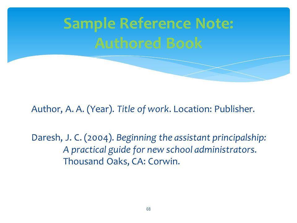 Sample Reference Note: Authored Book