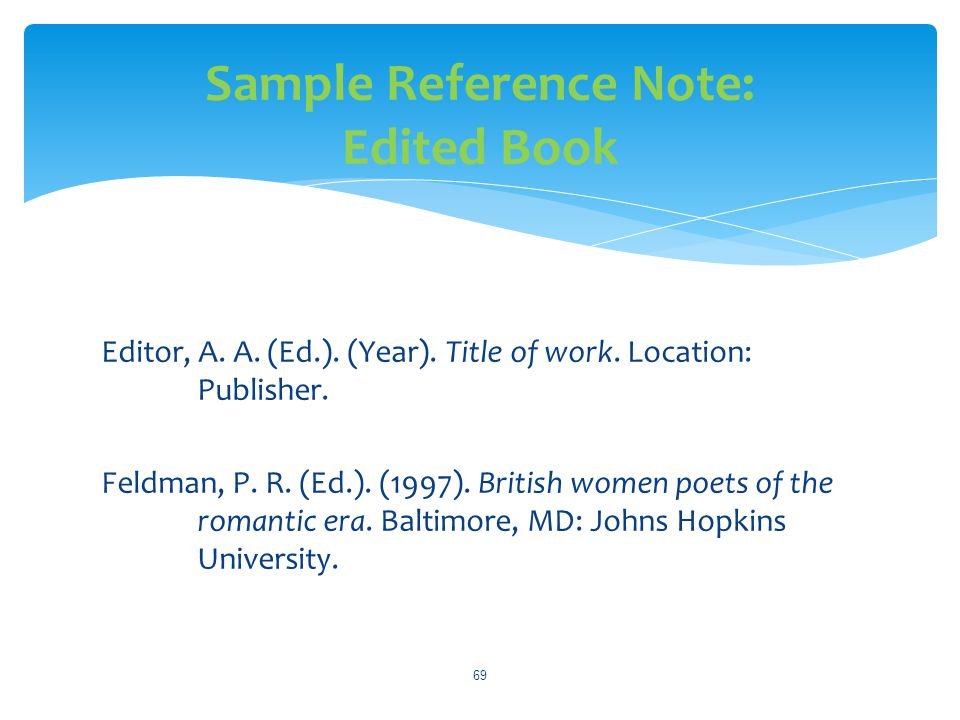 Sample Reference Note: Edited Book