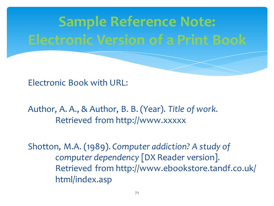 Sample Reference Note: Electronic Version of a Print Book