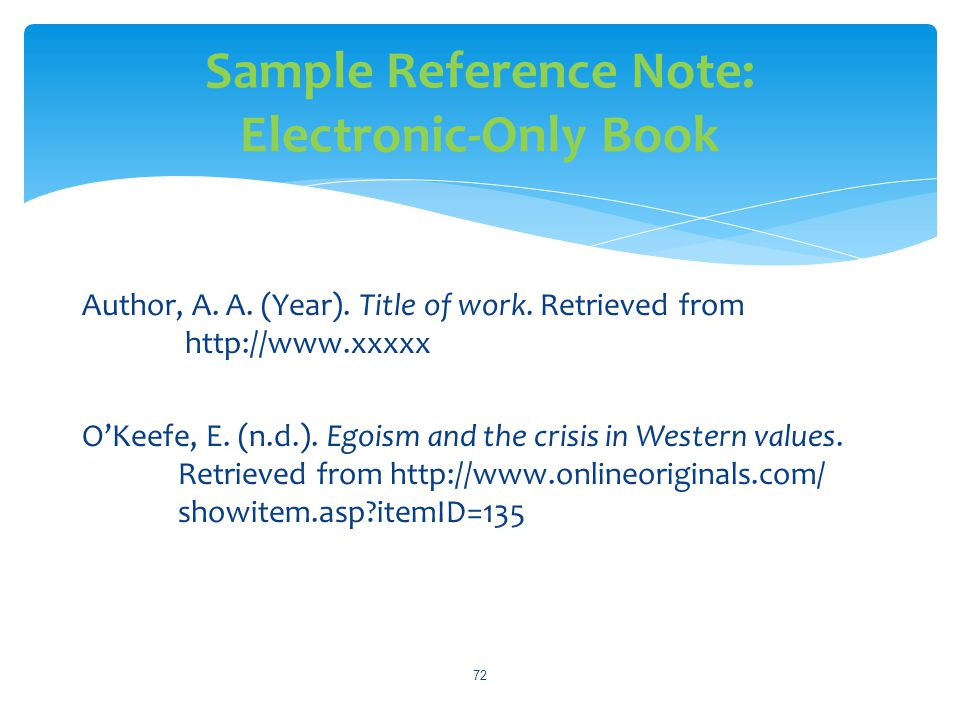 Sample Reference Note: Electronic-Only Book