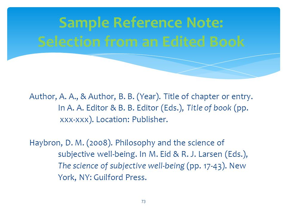 Sample Reference Note: Selection from an Edited Book