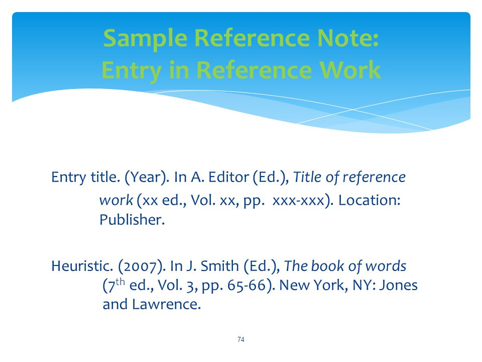 Sample Reference Note: Entry in Reference Work