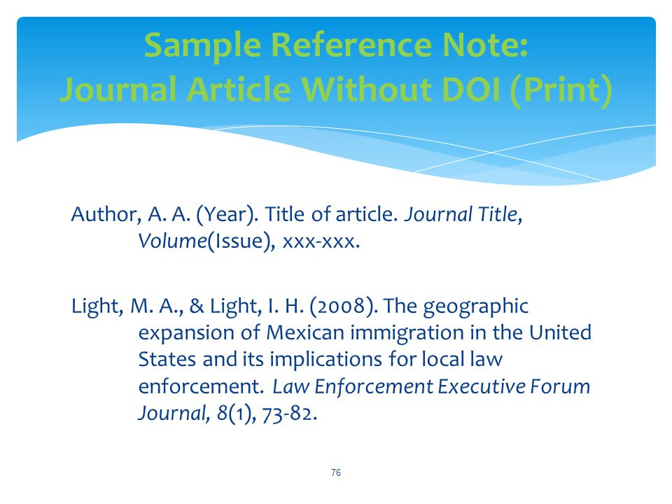 Sample Reference Note: Journal Article Without DOI (Print)