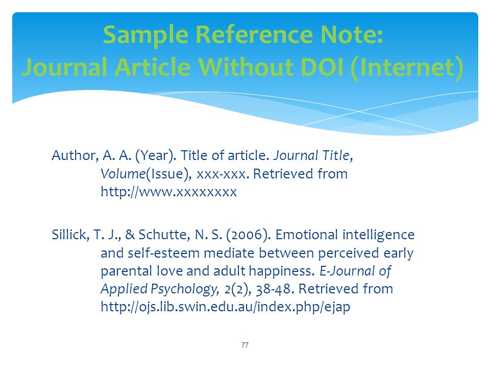 Sample Reference Note: Journal Article Without DOI (Internet)