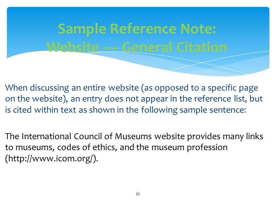 Sample Reference Note: Website — General Citation